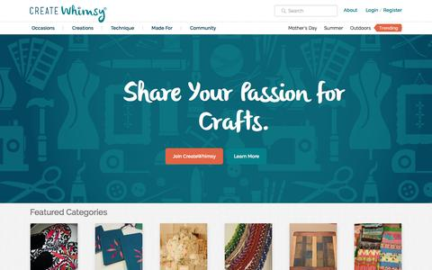 Screenshot of Home Page createwhimsy.com - CreateWhimsy - Share Your Passion for Crafts - captured May 12, 2017