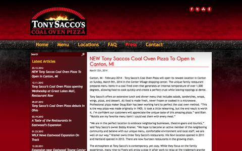 Screenshot of Press Page tonysaccos.com - Tony Saccos Coal Oven Pizza |   News Press - captured Oct. 6, 2014