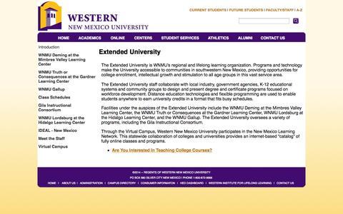 Screenshot of Locations Page wnmu.edu - Extended University - captured Sept. 23, 2014