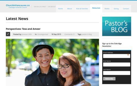 Screenshot of Press Page churchinvancouver.ca - Oakridge Adventist Church  » News - captured Sept. 21, 2015