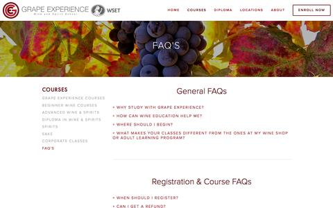 Screenshot of FAQ Page grapeexperience.com - FAQ's Ń Grape Experience - captured Dec. 13, 2015