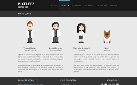 Screenshot of Team Page pixeleez.ch - Notre équipe // Pixeleez - Agence Web, marketing et communication digitale - captured Sept. 29, 2014