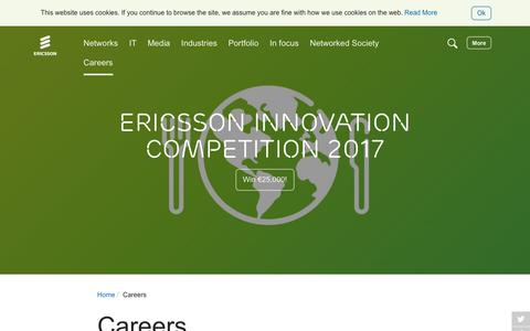 Screenshot of Jobs Page ericsson.com - Careers - captured March 11, 2017