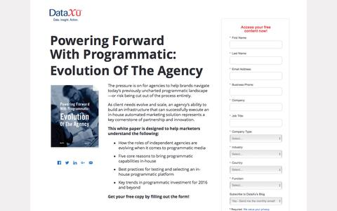 Screenshot of Landing Page dataxu.com - Powering Forward With Programmatic: Evolution Of The Agency - captured May 20, 2016