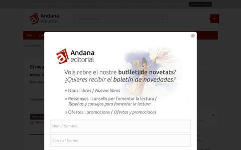 Screenshot of Login Page andana.net - El meu compte - Andana Editorial - captured Feb. 6, 2016