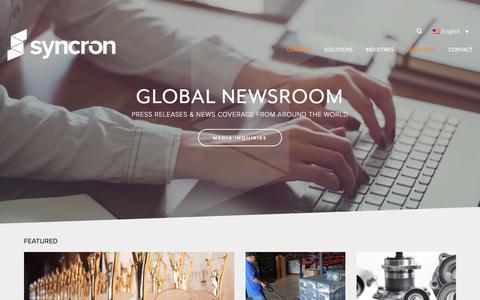Screenshot of Press Page syncron.com - Global Newsroom - Syncron - captured Nov. 15, 2017