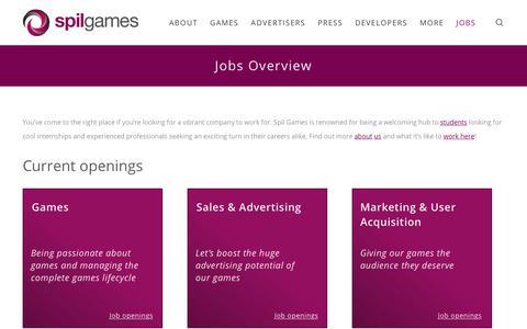 Screenshot of Jobs Page spilgames.com - Jobs Overview - Spil Games - captured Nov. 3, 2018