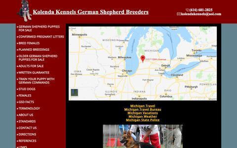 Screenshot of Maps & Directions Page kolendakennels.com - German Shepherd Breeders Michigan, German shepherd puppies sale - captured Dec. 10, 2018
