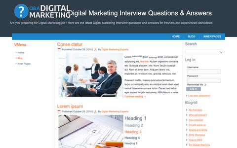 Screenshot of Blog digitalmarketinginterview.com - Digital Marketing Interview Questions & Answers - captured Oct. 30, 2018