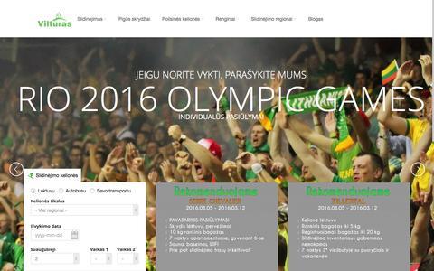 Screenshot of Home Page vilturas.lt - Vilturas - Slidinėjimo kelionės lėktuvu, autobusu, savo transportu | Vilturas.lt - captured Feb. 24, 2016