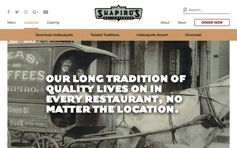 Screenshot of Contact Page Locations Page shapiros.com - Locations - Indianapolis & Cincinnati - Shapiro's Delicatessen - captured Oct. 26, 2017