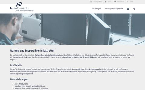 Screenshot of Support Page hm-ag.de - Wartung und Support Ihrer Infrastruktur | hm informatik ag | future. technologies. connected. - captured Sept. 25, 2018