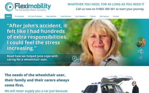 Screenshot of Home Page amcwav.com - Fleximobility | The Accessible Motor Company - captured Oct. 4, 2014