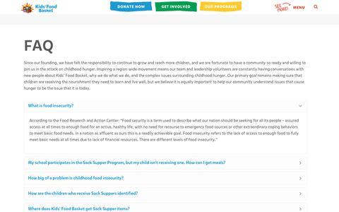Screenshot of FAQ Page kidsfoodbasket.org - FAQ - Kids Food Basket - captured Sept. 20, 2018