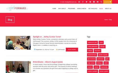 Screenshot of Blog girlforward.org - Blog  GirlForward - captured Sept. 30, 2014