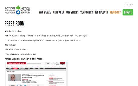 Screenshot of Press Page actioncontrelafaim.ca - Press Room   Action Against Hunger - captured Nov. 20, 2016