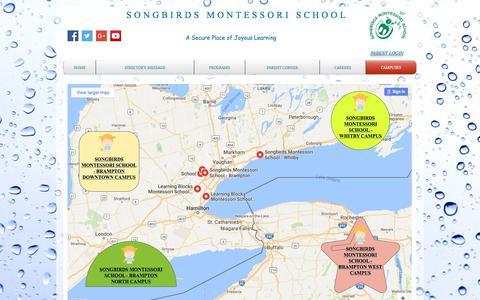 Screenshot of Locations Page songbirdsmontessorischool.com - Songbirds Montessori School Brampton Whitby | CAMPUSES - captured June 19, 2017