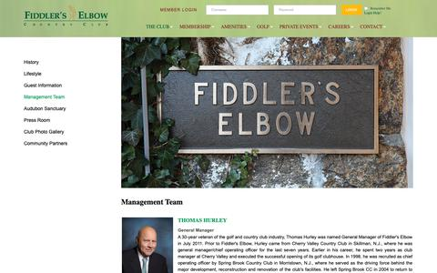 Screenshot of Team Page fiddlerselbowcc.com - Management Team - Fiddlers Elbow Country Club - captured Oct. 10, 2018