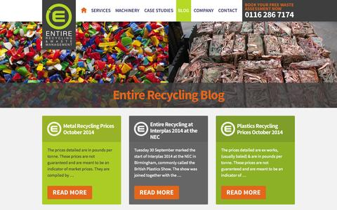 Screenshot of Blog entirerecycling.co.uk - Recycling Blog | Recycling Company Blog UK - captured Oct. 1, 2014