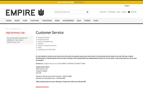 Screenshot of Privacy Page FAQ Page Support Page thinkempire.com - Customer Service - Empire Online Store - Skateboards, Snowboards, Street Fashion - captured Aug. 26, 2016
