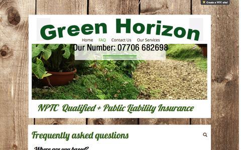 Screenshot of FAQ Page greenhorizon.co - Gardening | Atherstone | GreenHorizon | FAQ - captured May 13, 2017