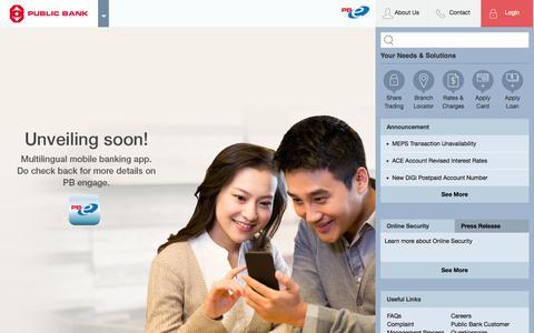 Screenshot of Home Page pbebank.com - Public Bank Berhad - Personal Banking - captured Sept. 18, 2014