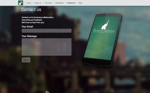 Screenshot of Contact Page breezometer.com - Contact us   Breezometer - captured Oct. 29, 2014