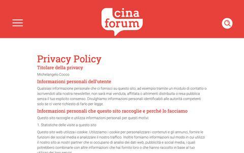 Screenshot of Privacy Page cinaforum.net - Privacy Policy - CINAFORUM - captured Nov. 4, 2018