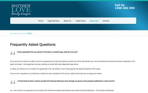 Screenshot of FAQ Page matthewlovefamilylawyers.com.au - FAQ's - Matthew Love Family LawyersMatthew Love Family Lawyers - captured Oct. 17, 2018