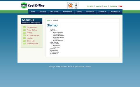Screenshot of Site Map Page cooldfine.com - Site Map, Mechanical Ventilator, Solar Air Conditioner, Cool D'fine - captured Sept. 30, 2014