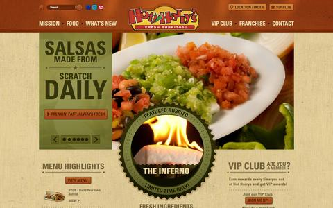 Screenshot of Home Page hotharrys.com - Hot Harry's - captured Oct. 3, 2014