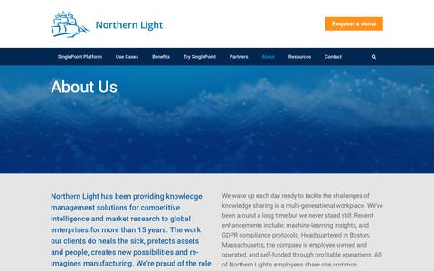 Screenshot of About Page northernlight.com - About - Northern Light - Machine learning powered knowledge management - captured July 16, 2018
