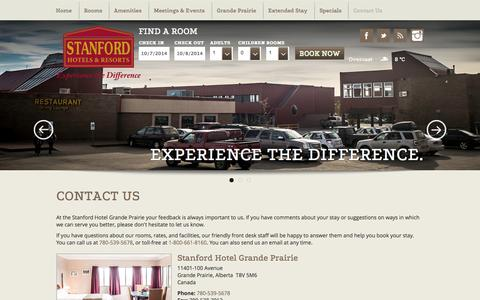 Screenshot of Contact Page Maps & Directions Page grandeprairiestanfordhotel.com - Contact The Stanford Grande Prairie Hotel | Stanford Grande Prairie Hotel - captured Oct. 7, 2014