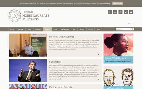 Screenshot of Support Page lindau-nobel.org - Support | The Lindau Nobel Laureate Meetings - captured Oct. 19, 2018