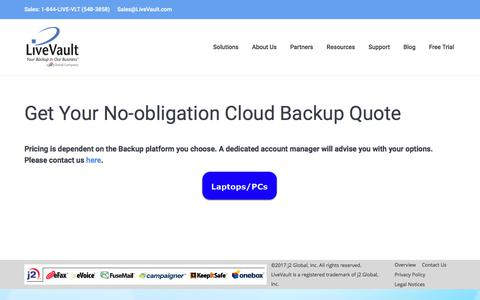Screenshot of Pricing Page livevault.com - Custom Cloud Backup Price Estimates & Quotes - captured March 5, 2018