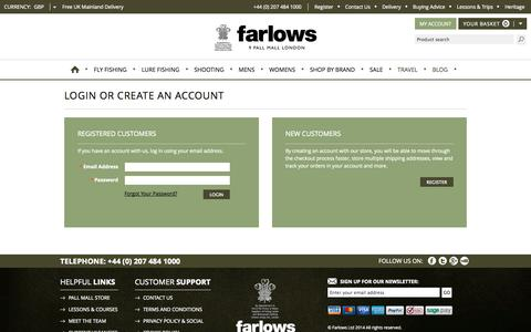 Screenshot of Login Page farlows.co.uk - Customer Login - captured Nov. 3, 2014