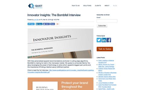 Screenshot of Blog quietlogistics.com - Innovator Insights: The Bombfell Interview - captured May 3, 2018