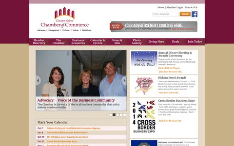 Screenshot of Home Page gschamber.com - Greater Salem Chamber of Commerce - Home - captured Oct. 3, 2014