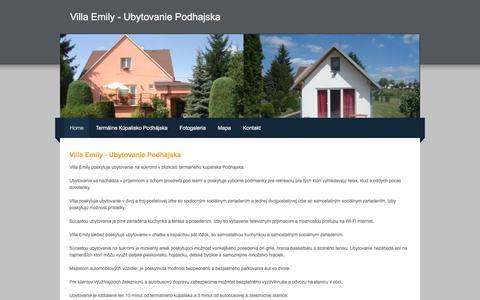 Screenshot of Home Page villaemily.sk - Villa Emily - Ubytovanie Podhajska - Villa Emily poskytuje ubytovanie na súkromí v blizkosti termalneho kupaliska Podhajska - captured April 27, 2018