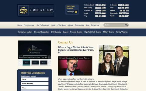 Screenshot of Contact Page Maps & Directions Page stangelawfirm.com - Contact Us | Stange Law Firm, PC | St. Louis, St. Charles, Jefferson County Missouri - captured Oct. 26, 2014