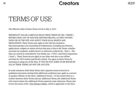Screenshot of Terms Page vice.com - TERMS OF USE - Creators - captured March 3, 2018