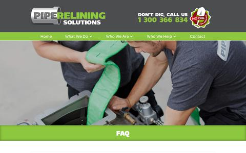 Screenshot of FAQ Page pipereliningsolutions.com.au - How Much Does Pipe Relining Cost? | Call 1300 366 834 - captured July 18, 2018
