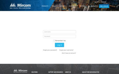 Screenshot of Login Page mircom.com - Login - captured Oct. 2, 2018