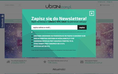 Screenshot of Home Page ubrani.com.pl - Second hand Ubrani.com.pl - odzież używana online - captured Feb. 18, 2016