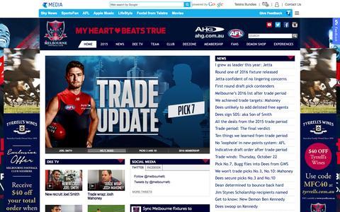 Screenshot of Home Page melbournefc.com.au - Official AFL Website of the Melbourne Football Club - captured Oct. 26, 2015