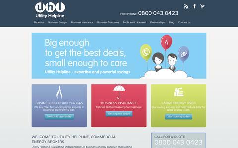 Screenshot of Home Page utilityhelpline.co.uk - Commercial Energy Brokers - Utility Helpline - captured Sept. 19, 2014