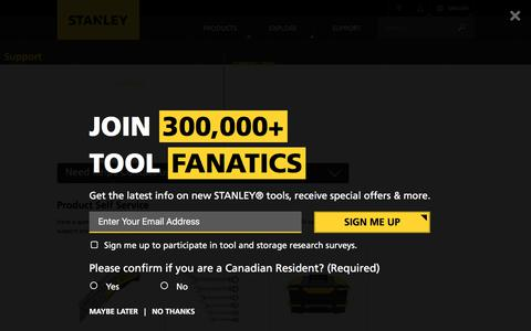 Screenshot of Support Page stanleytools.com - STANLEY Customer Support | STANLEY Tools - captured Nov. 18, 2017