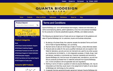 Screenshot of Terms Page quantabiodesign.com - Terms and Conditions - Quanta BioDesign - captured Oct. 2, 2014