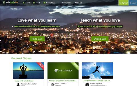Screenshot of Home Page edushala.com - Edushala - Education Marketplace - captured Sept. 26, 2014