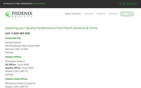 Screenshot of Locations Page phoenixquality.com - Phoenix Quality Locations - Quality Assurance Services Canada, USA & China - captured July 10, 2018